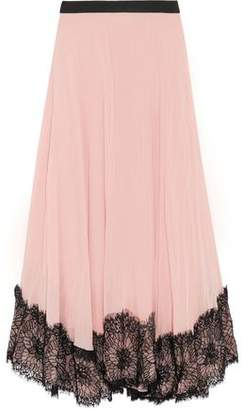 Cinq à Sept Kaya Lace-Trimmed Pleated Crepe De Chine Midi Skirt