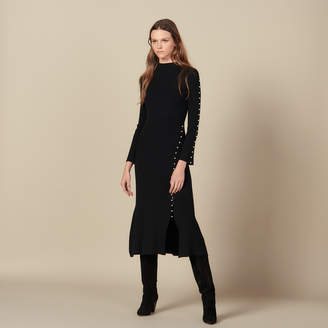 Sandro Long Knit Dress Trimmed With Beads