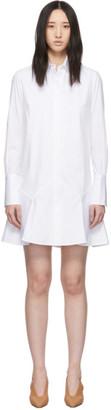 Victoria Victoria Beckham White Flounce Hem Mini Shirt Dress