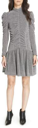 Rebecca Taylor Gathered Metallic Jersey Dress