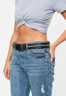 Missguided Black Chain Detail Belt