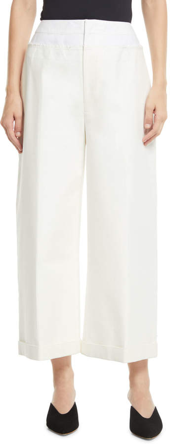 Rejina Pyo Tate Wide-Leg Cotton-Blend Cropped Trousers