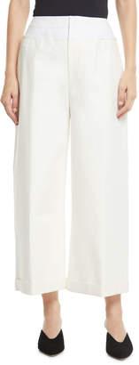 Rejina Pyo Tate Wide-Leg Cotton-Blend Cropped Trousers