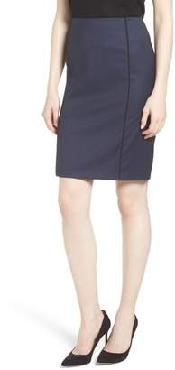 BOSS Valeani Dark Blue Wool Melange Pencil Skirt