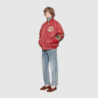 Gucci Dapper Dan GG leather bomber