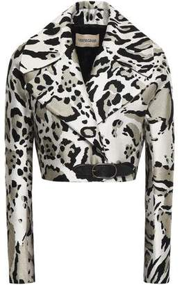 Roberto Cavalli Cropped Leather-trimmed Jacquard Jacket