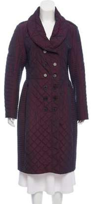 Burberry Double-Breasted Quilted Coat Purple Double-Breasted Quilted Coat