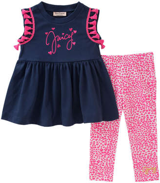 Juicy Couture Tassel Accented Tunic & Heart-Print Legging Set