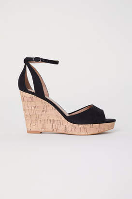 H&M Wedge-heel Platform Sandals - Black