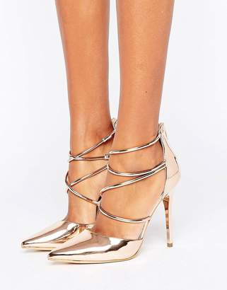 Office Spears Rose Gold Cross Strap Heeled Shoes