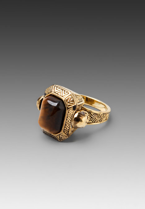 House of Harlow Engraved Skull Tigers Eye Cocktail Ring