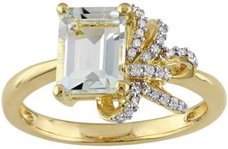 Laura Ashley Sterling Silver Green Quartz & 1/10 Carat T.W. Diamond Bow Ring $700 thestylecure.com