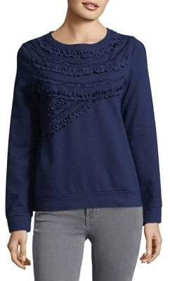 Lord & Taylor Ruffled Cotton Sweater