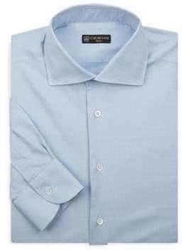 Corneliani Dash-Print Cotton Dress Shirt
