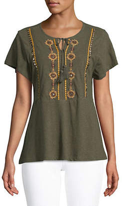 Style&Co. STYLE & CO. Embroidered Peasant Top