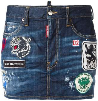 DSQUARED2 patches denim mini skirt