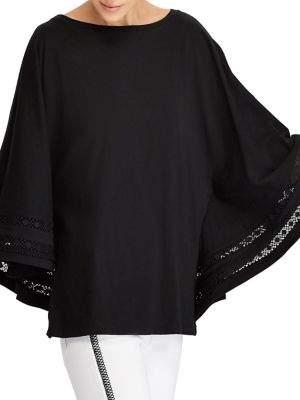 Lauren Ralph Lauren Petite Lace-Trim Jersey Dolman-Sleeve Top