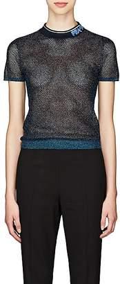 Prada Women's Metallic Sheer Silk-Blend Mesh Top - Blue