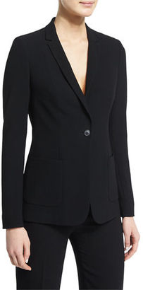 Elie Tahari Wendy Crepe One-Button Jacket $398 thestylecure.com