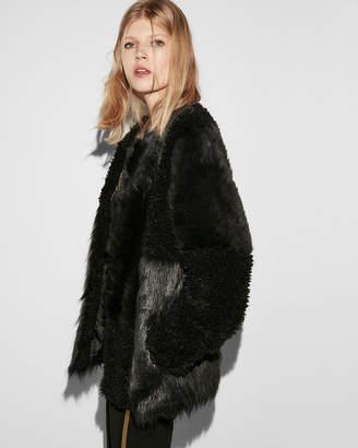 Express Collarless Pieced Faux Fur Coat