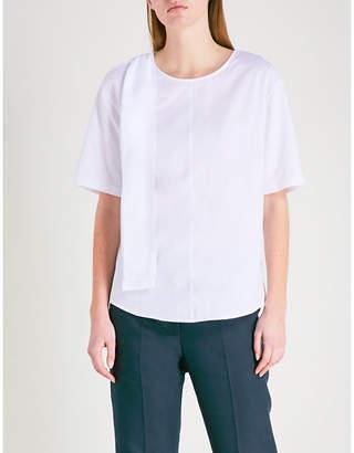 Sandro Cutout tied-shoulder cotton-jersey top