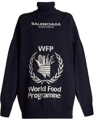Balenciaga World Food Programme Intarsia Knit Wool Sweater - Womens - Navy White