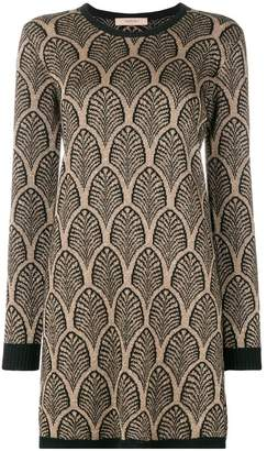 Twin-Set patterned shimmer sweater dress