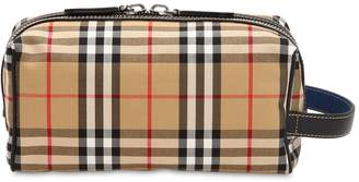 Burberry Check Cotton & Nylon Toiletry Bag