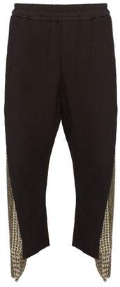 By Walid Burt Embroidered Panel Linen Trousers - Mens - Black Green