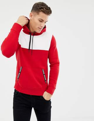 Hollister color block taped logo pockets hoodie in red/white