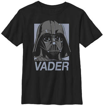 Fifth Sun Darth Vader Mask Blue Square Boys Crew Neck Short Sleeve Star Wars T-Shirt Preschool / Big Kid Slim