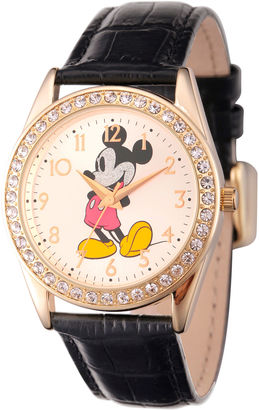 DISNEY Disney Womens Gold Tone Glitz Mickey Mouse Strap Watch W002750 $39.99 thestylecure.com