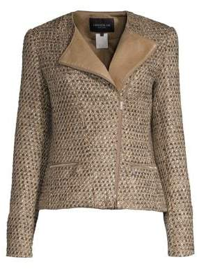 Lafayette 148 New York Trista Tweed& Leather Jacket