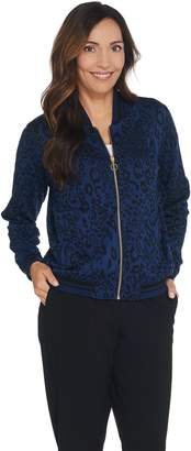 Du Jour Animal Bomber Jacket with Striped Rib Knit Trim