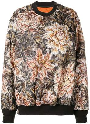 Y-3 quilted floral print oversized sweater
