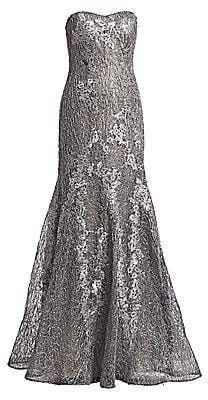 Rene Ruiz Collection Women's Strapless Metallic Floral Embroidered & Sequin Mermaid Gown