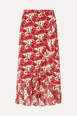 RIXO - Gracie Ruffled Floral-print Silk Crepe De Chine Wrap Skirt - Red