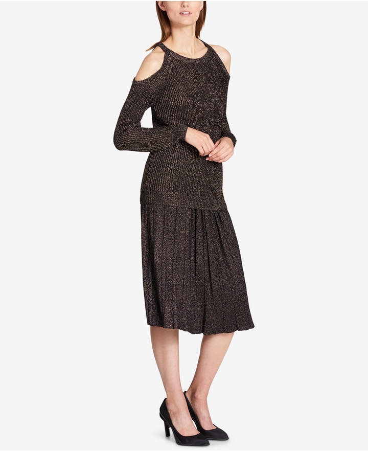 Dkny Metallic Cold-Shoulder Sweater