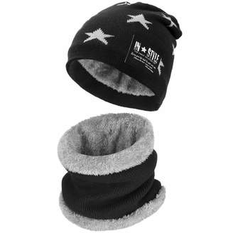 6322176364119 KKONION Warm Knitted Hat Cap with Scarves Thickened Wool for 6-10 Years Old  Boys