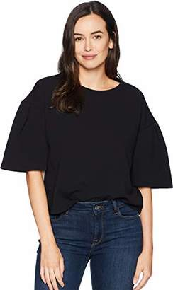 Ellen Tracy Women's Cropped Knit Top with Slit Sleeves
