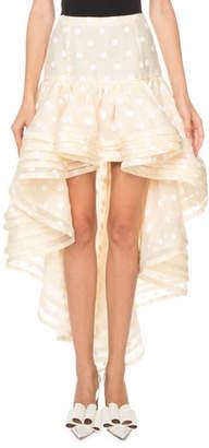 Marc Jacobs Flocked-Dot Tiered-Hem High-Low Skirt