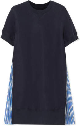 Sacai Striped Poplin-paneled Cotton-blend Jersey Mini Dress - Navy