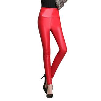 33f7b4850a5 LINGMIN Women s Fleeced Multi-Color PU Pants High Waisted Pull-On Tight  Trouser Faux