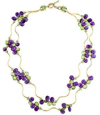 14K Amethyst & Peridot Station Necklace