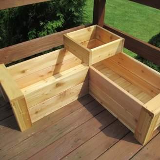 August Grove Gunderson L-Shaped Multi-level Cedar Planter Box