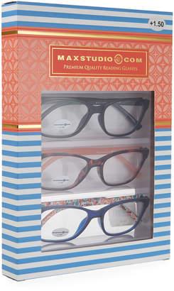 Max Studio Navy Peach Plastic Rectangle Readers, Set of 3 (+1.50)