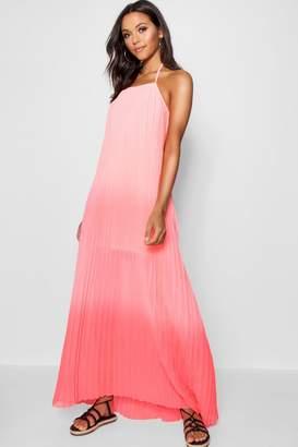 boohoo Tall Pleated Sweeping Maxi Dress