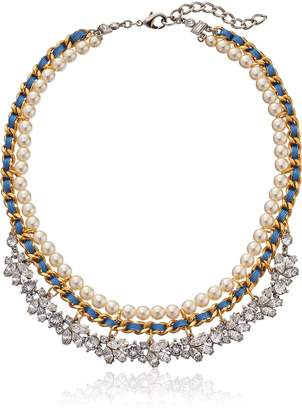 Ben-Amun Jewelry Woven Pearl and Petite Crystal Chain Necklace