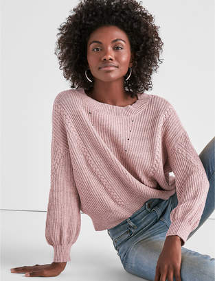 Lucky Brand MIXED STITCH BLOUSON SWEATER