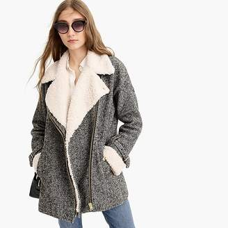 J.Crew Oversized herringbone motorcycle jacket with sherpa-lined front